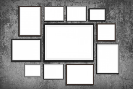 photo frame wall mock up - set of picture frames on vintage wall background