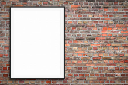blank picture frame on brick wall with copy space - framed poster mockup