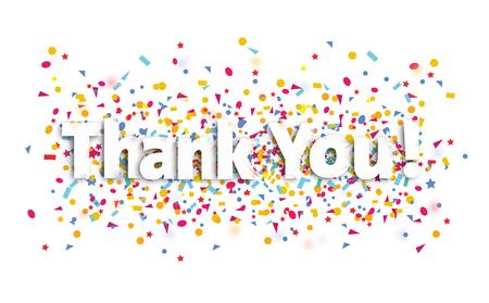 bedankt teken, tekst en confetti