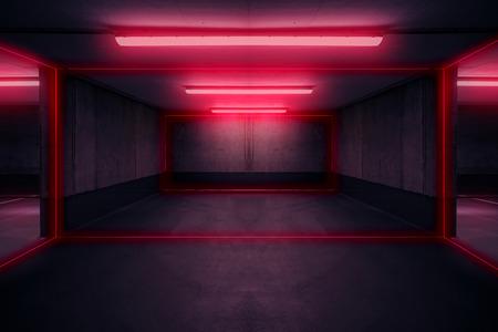 parkeerplaats met neonlicht, donkere ondergrondse garage
