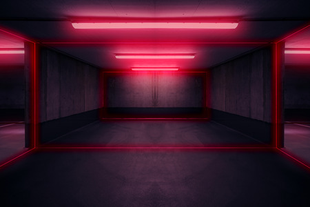 parking lot with neon light, dark underground garage