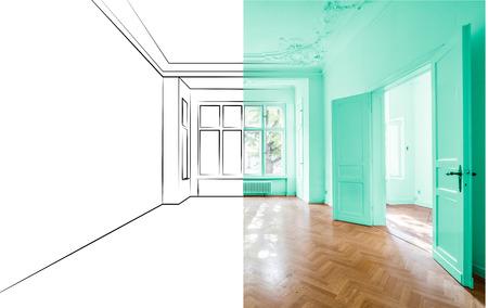 leeres Apartmentzimmer nach Renovierung und Entwurfsplanungsskizze zusammengeführt Standard-Bild