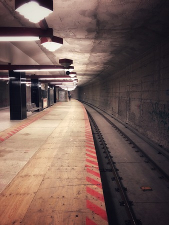 dark empty subway station - underground train station under construction - Фото со стока - 120820516