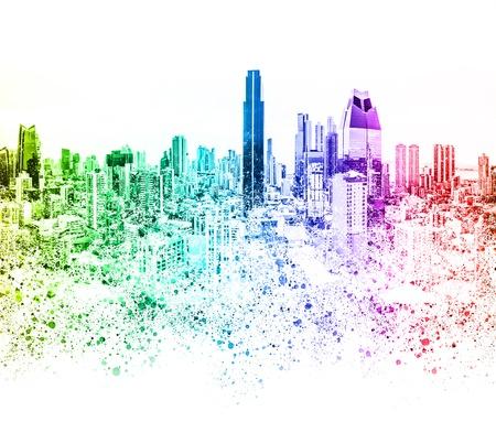 colorful city skyline illustration abstract skyscraper cityscape