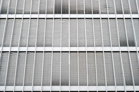 modern office building, with closed sun blinds, shutters