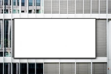 blank banner on office building / empty billboard on facade - advertisment mockup