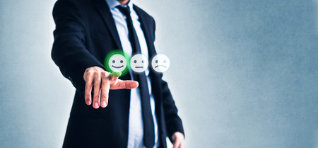 costumer review concept, man rating service by clicking  on happy smiling face  symbol