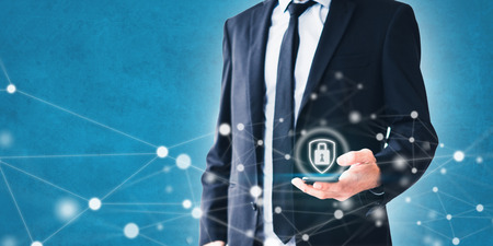 mobile phone privacy concept - businessman using smartphone with network illustration and security symbol Imagens