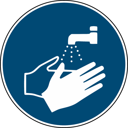 wash your hands sign - mandatory sign iso 7010 Vectores