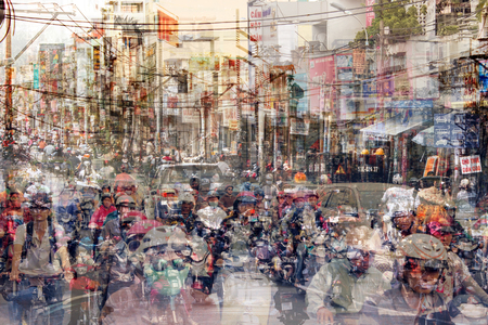 abstract city life and road traffic concept - street scene double exposure - Banco de Imagens