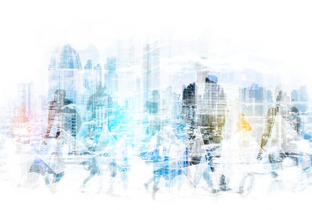 people in the city concept - abstract city skyline and people walking on street double exposure Stok Fotoğraf