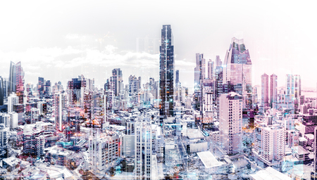 city skyline aerial abstract cityscape modern city background Stock Photo