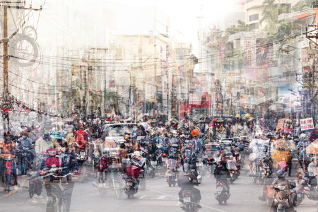 abstract city life and traffic concept - crowded streets double exposure 版權商用圖片
