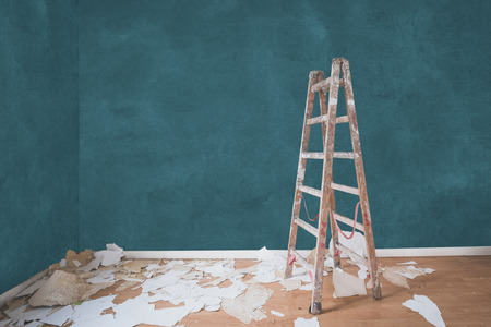 Renovation concept, ladder in empty apartment room