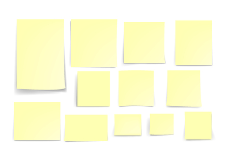 Yellow stick note paper isolated on white background, vector illustration