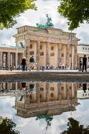 The Brandenburg Gate, the most famous landmark and symbol of Berlin, Germany