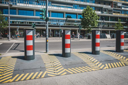 Berlin, Germany - june 2019: Anti terror truck stop protection on sidewalk by barricades as a follow-up to the attack of december 2016