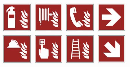 fire protection signs - emergency pictogram  set