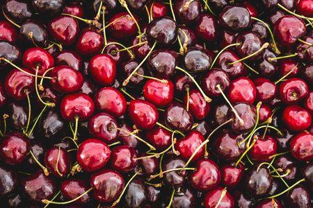 cherry fruit background - many cherries closeup