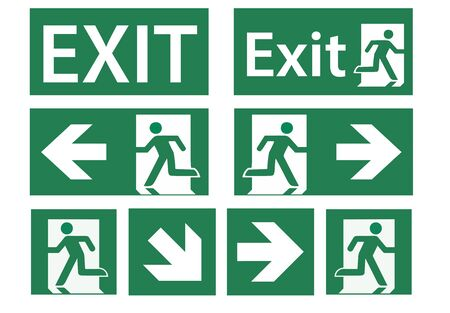 emergency exit sign set - vector signs