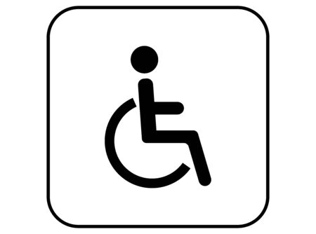 Disabled toilet sign, wheelchair toilet icon symbol