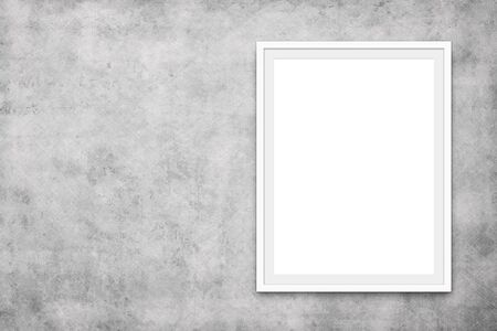 white picture frame on concrete wall - blank canvas mock up