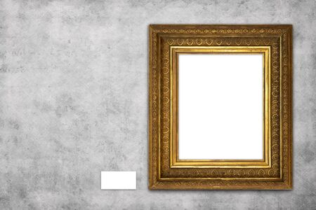 beautiful blank picture frame mock-up hanging on concrete wall in gallery