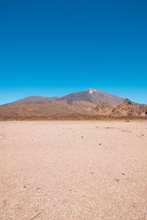 desert landscape with blue sky and mountain background, Teide, Tenerife 写真素材