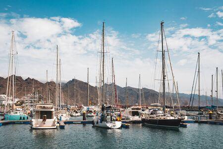 Sailboats, motor boats and yachts Harbor