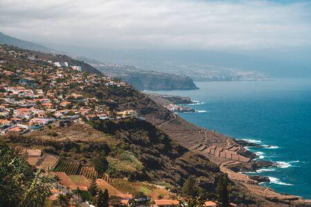 Coastline of north Tenerife, aerial view on coast , villages and ocean