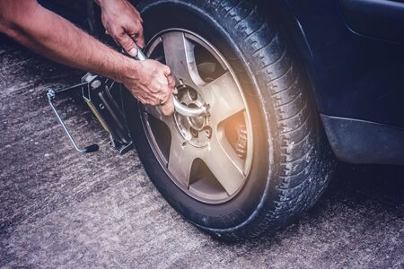 car tire change, opening screws with wrench