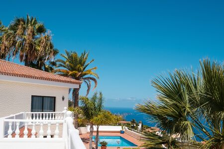 villa with pool, palm trees and  sea view -  写真素材