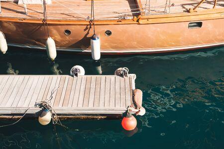 boat pier and sailing boat, parking dock Stok Fotoğraf