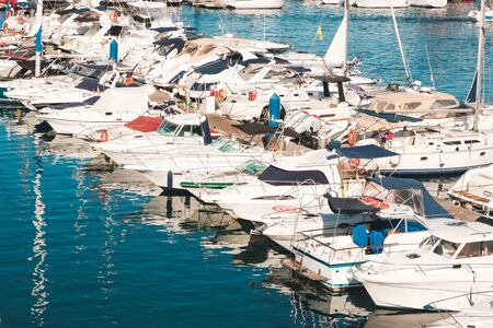 Many motor boats, motorboats and sailboats at Harbour