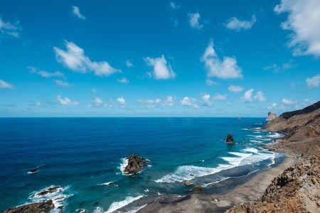 Rocks at coast and ocean horizon at Benijo Beach in Tenerife