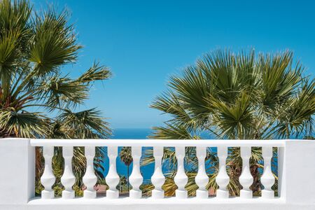 terrace balluster with ocean view, blue sky and palm tree background  -