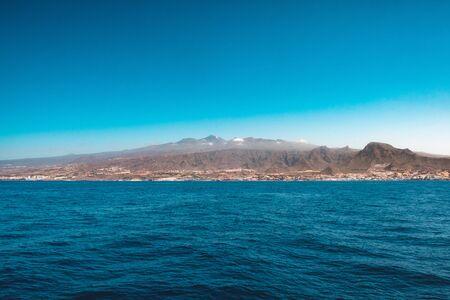 Tenerife Island coast and Mountain (Pico del Teide) coast view from ocean -