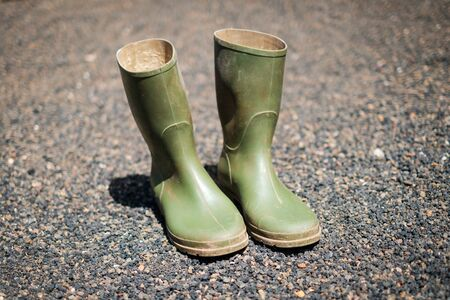gardening boots, rubber boots in garden isolated 写真素材