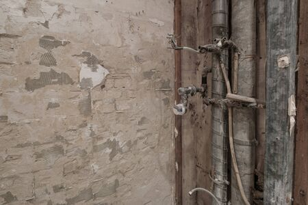 water pipes in old bathroom during or renovation - 写真素材