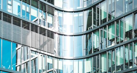 office building facade - corporate real estate background  - 写真素材