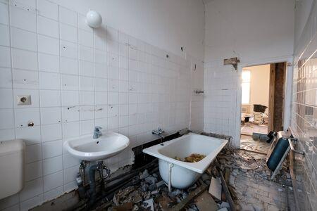 old bathroom during renovation - flat renovation concept