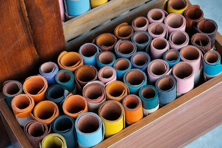 colorful leather sample rolls