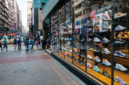 Collection of sneakers in urban sports wear retail shop at sneaker street in Hong Kong
