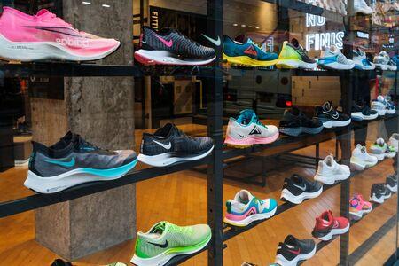 Hongkong - November, 2019: Nike sneakers in in shop window at sneaker street in HongKong Editorial