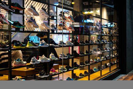 Hongkong - Noveber, 2019: Nike sneakers in shop window at sneaker street in HongKong Editorial