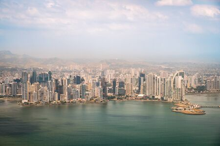 Panama City coast , cityscape and skyline aerial view -