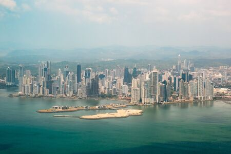 Panama City, Panama skyline, aerial view