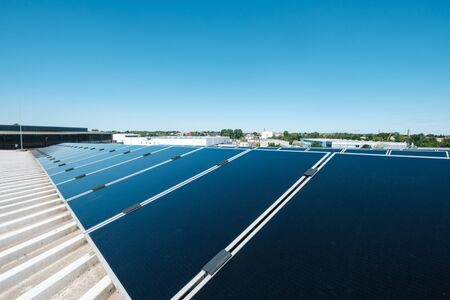Photovoltaic panels on solar rooftop power plant
