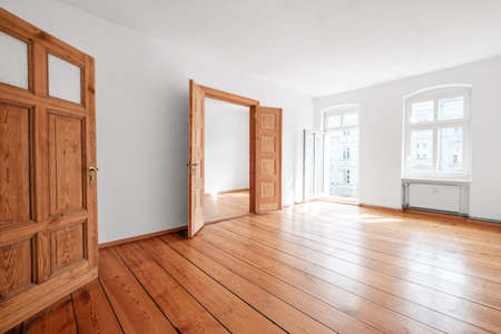 empty living room in apartment flat with wooden floor and balcony - 写真素材