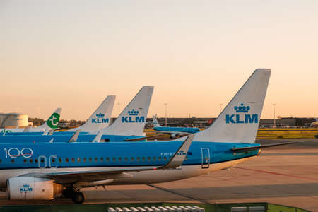 Amsterdam, Netherland - December, 2019: KLM Airline airplanes on airport in Amsterdam